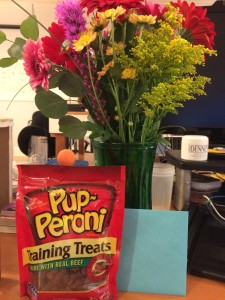Flowers, treats, and a card from my coworkers