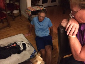 My parents and me, looking over a sleeping Patchy
